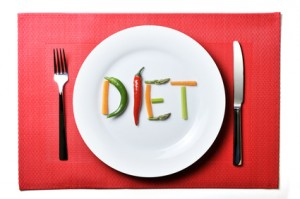 diet written with vegetables in healthy nutrition concept