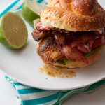 Lighter Cajun Tilapia Sandwich with Bacon and Lime Mayo! This fish recipe is restaurant-quality! 350 calories