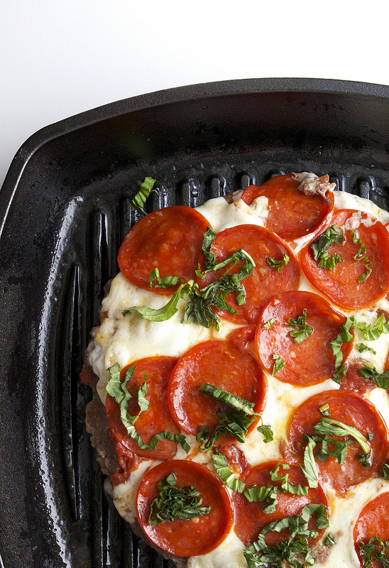 Pepperoni Meatzza Recipe! It's a low carb recipe with ground beef, sauce, cheese, and pepperoni! Add a few herbs and spices, and you've got a delicious meat pizza!