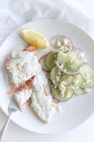 Salmon with Yogurt Dill Sauce and Cucumber Feta Salad