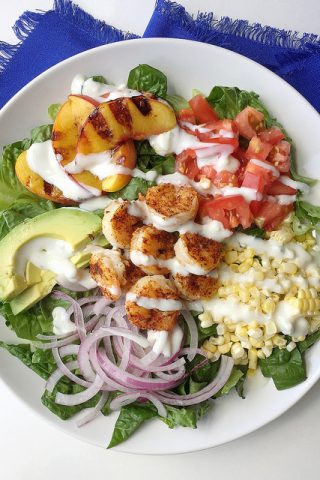 Summer Shrimp Salad with Grilled Peaches and Fresh Corn
