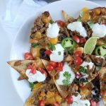 loaded healthy nachos with ground beef homemade tortilla chips