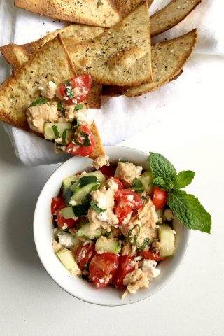 Salmon Salad with Cucumber, Feta and Mint