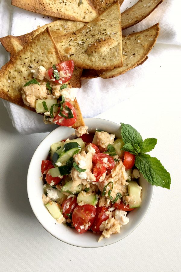This salmon salad with cucumber, feta and mint is a healthy, easy, and light recipe for lunch using canned salmon! Serve with homemade baked tortilla chips