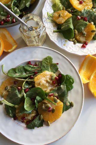 Baby Kale Salad with Orange, Pomegranate and Maple Tahini Dressing