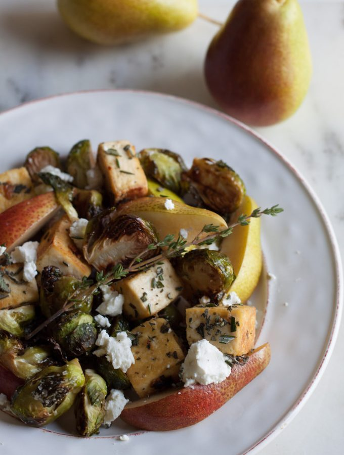 Rosemary Sage Tofu with Roasted Brussels Sprouts, Pear + Goat Cheese