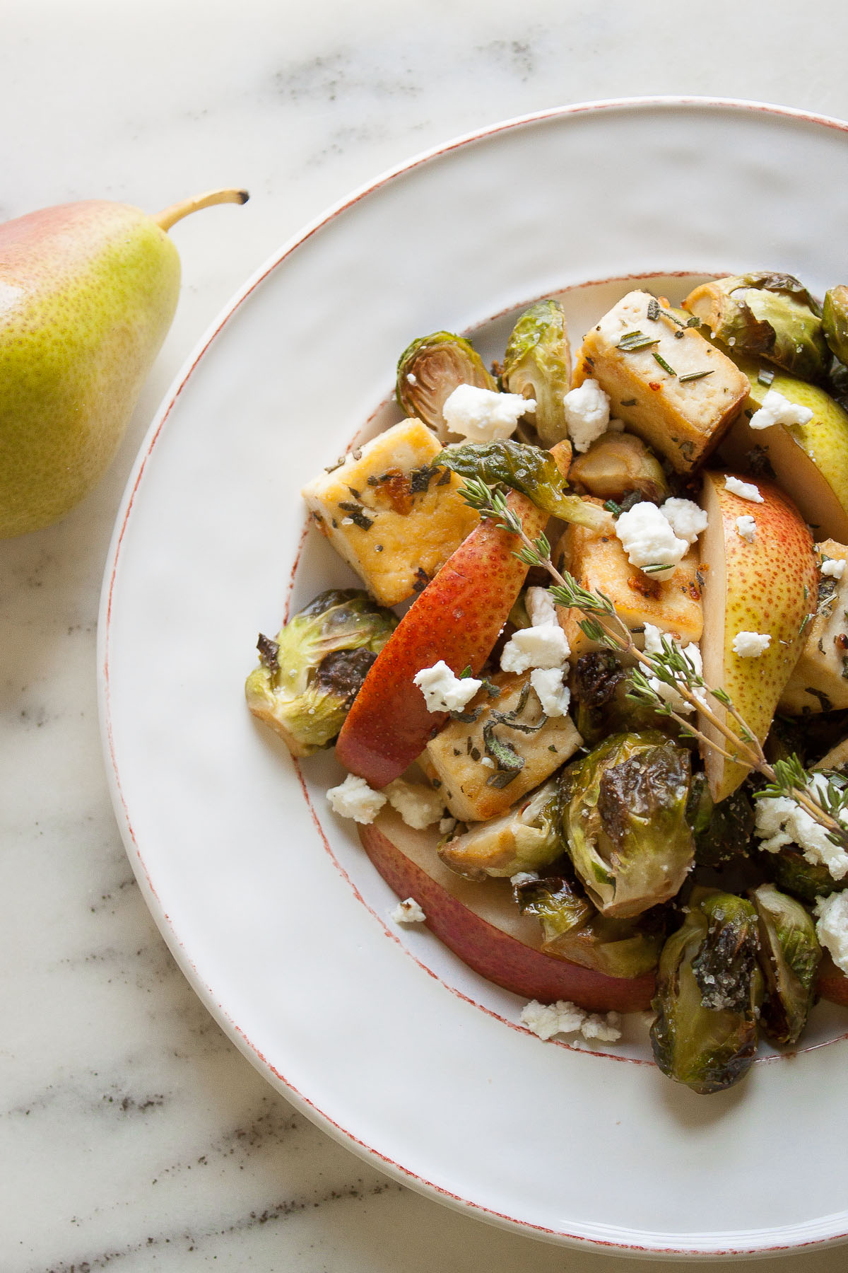 Rosemary Sage Tofu with Roasted Brussels Sprouts, Pear and Goat Cheese