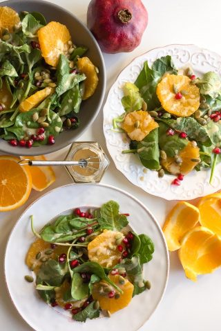 Baby Kale Salad with Orange, Pomegranate and Maple Tahini Dressing
