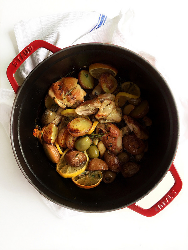 One Pan Roasted Chicken with Potatoes Wine and Olives! This recipe is restaurant-worthy and full of rich, hearty flavor. But the best news? It's wholesome and healthy!