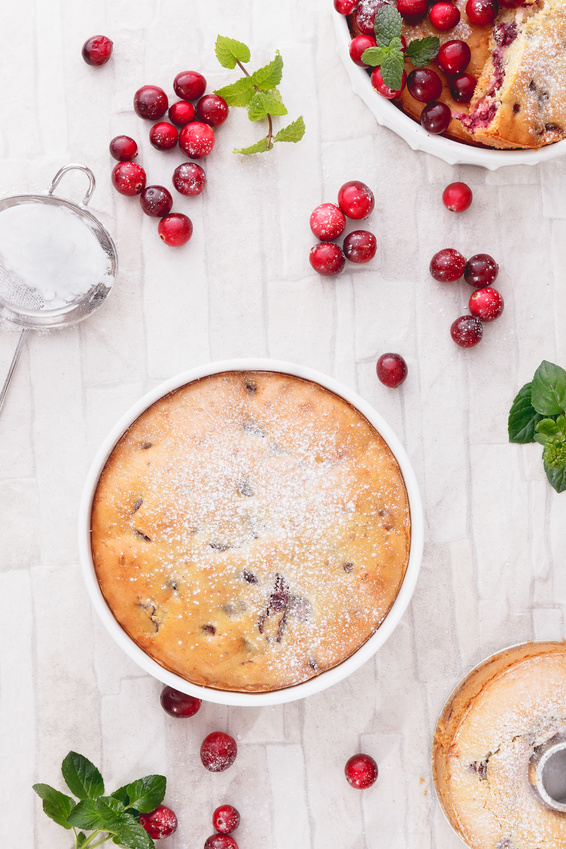 Cranberry Cake with Fresh Cranberries, top view