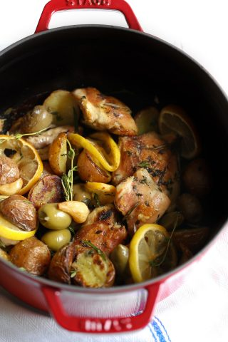 One Pan Roasted Chicken with Potatoes Wine and Olives