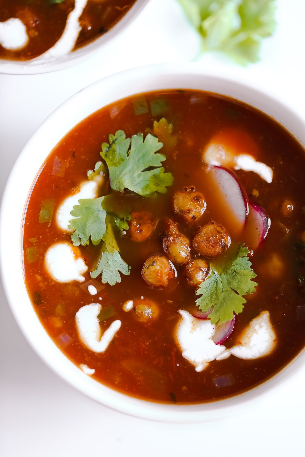 Easy Vegetarian Tortilla Soup with Chili Roasted Chickpeas