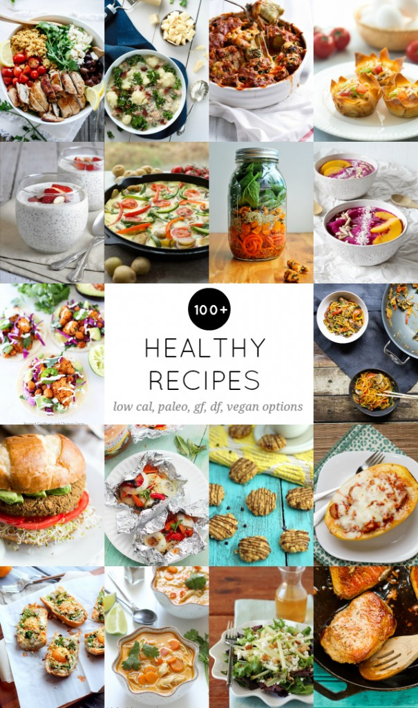 100 + Healthy Recipes! Use these low calorie, gluten free, dairy free, vegan, and vegetarian options to help you meal plan and prep for a healthy new year!