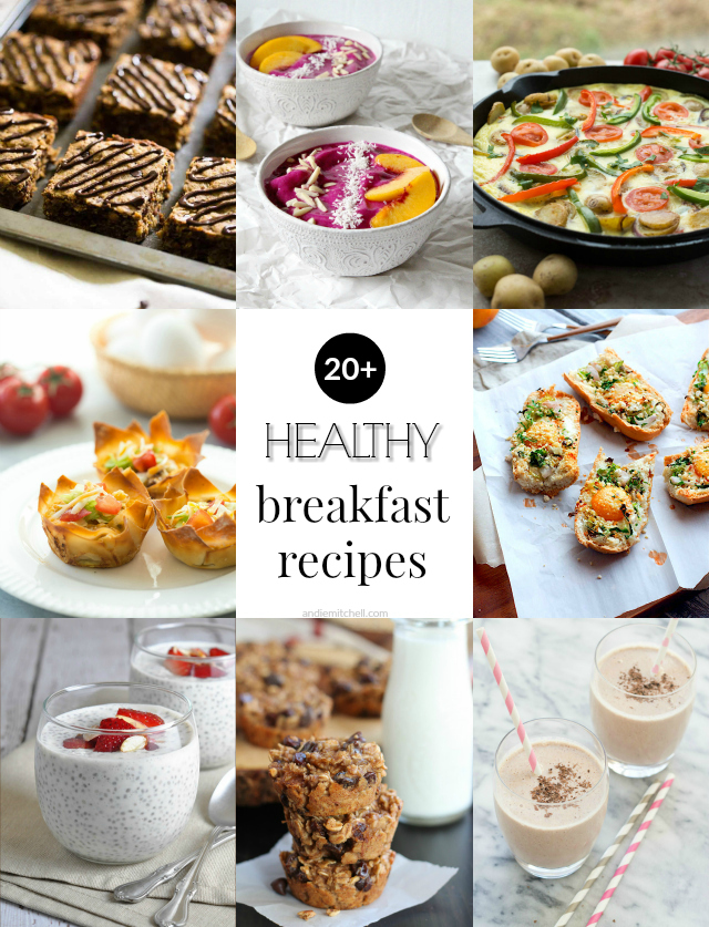 Over 20 Healthy Breakfast Recipes! (gluten free, dairy free, paleo, and vegan recipe options!)