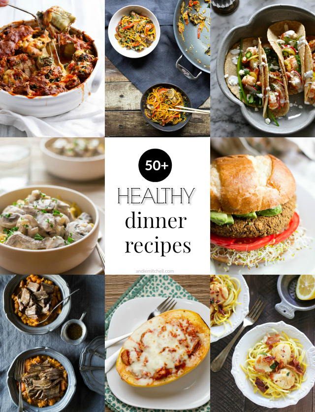 50 Healthy Dinner Recipes - meal ideas and menu planning help with low calorie, paleo, gluten free, vegan, vegetarian, and dairy free recipe options!