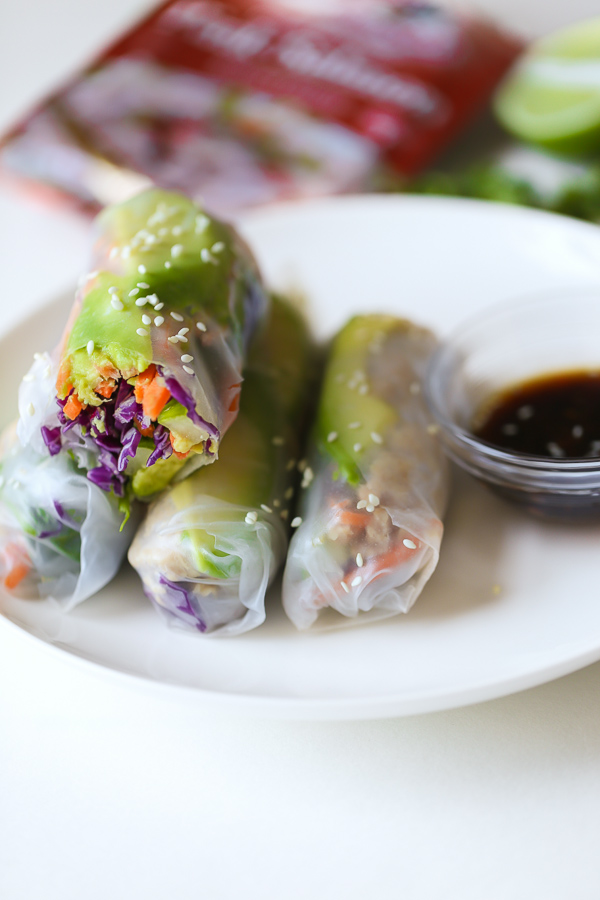 Ultra Easy Salmon Summer Rolls - these fresh and veggie-packed summer rolls are made with canned salmon or Chicken of the Sea Flavored Salmon Pouches, which makes them so convenient for quick lunches, healthy snacks, or appetizers!