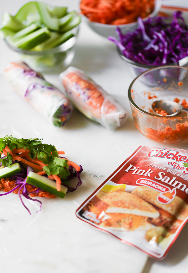 Sriracha Salmon Summer Rolls - fresh, spicy, and easy to make!