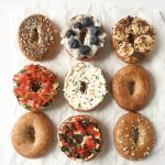 5 Delicious and Light Bagel Toppings - here are 5 delicious bagel spreads you can make with no guilt at all! These toppings include flavors like funfetti, pizza, mediterranean, blueberry coconut, and even chocolate peanut butter banana! All have nutrition information!