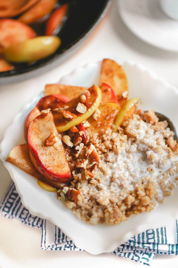 A good morning starts with a hearty meal, like this warm, healthy breakfast quinoa with coconut milk and apples. It's wholesome, sweet, filling, and only 275 calories