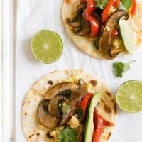 Millet and Veggie Breakfast Tacos Recipe - made with whole grain millet, red bell pepper, and portobello mushroom. Serve them for breakfast, lunch or dinner! Recipe from Eating Clean by Amie Valpone