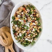 Panzanella Salad with Chickpeas and Feta - a traditional Tuscan bread and tomato salad loaded with flavor and texture! 288 calories per serving