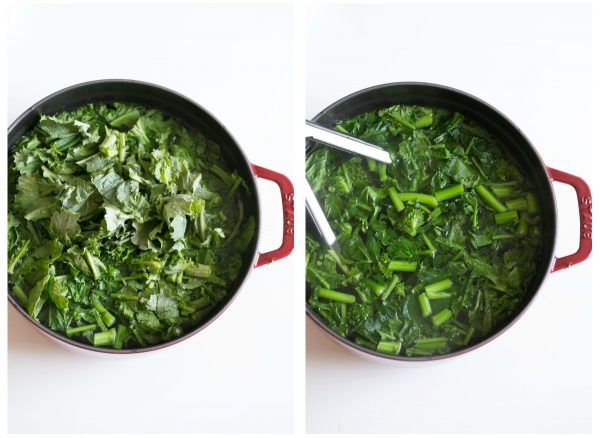 Blanch broccoli rabe to remove the bitterness