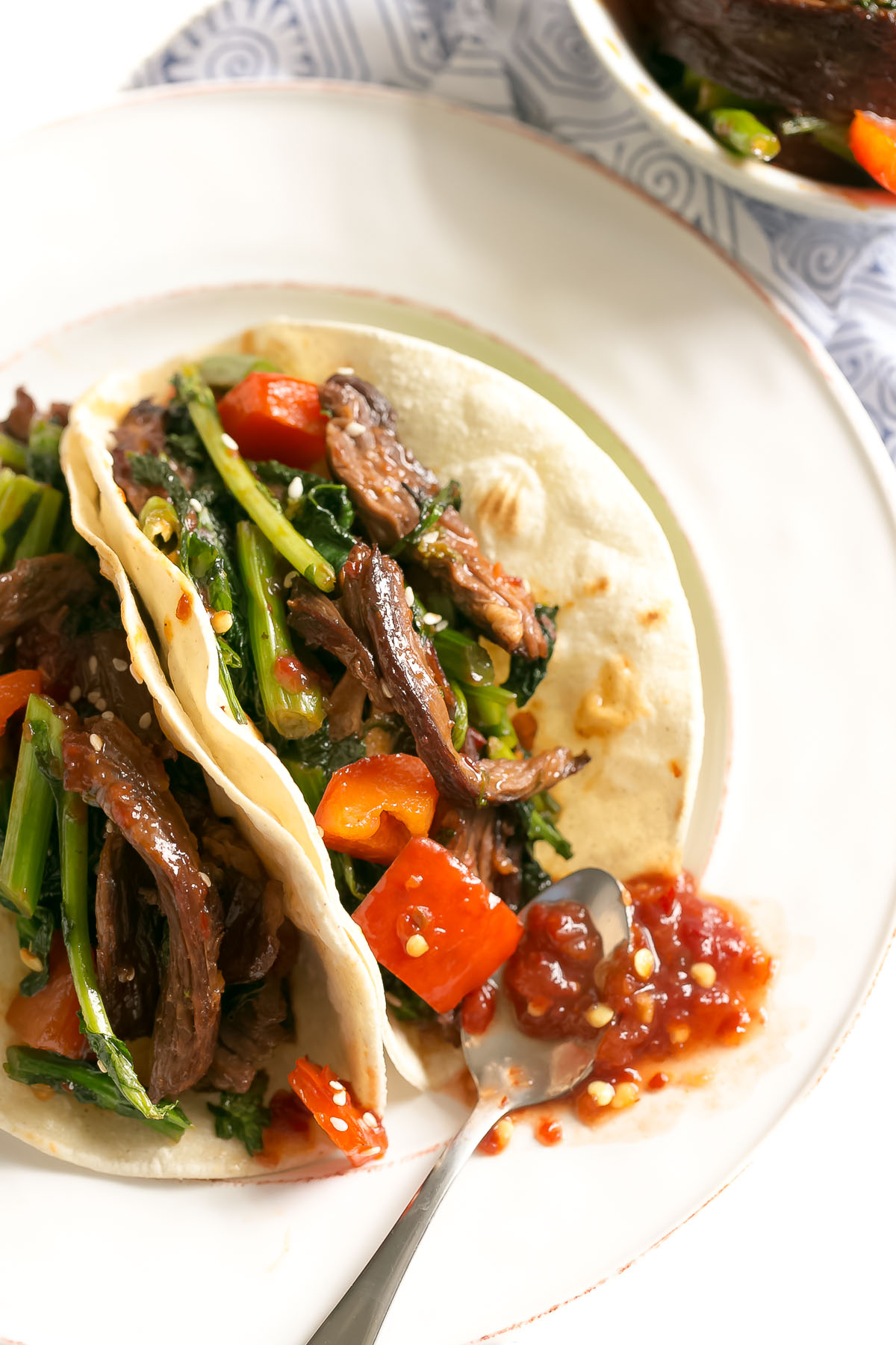Spicy Beef Tacos with Broccoli Rabe