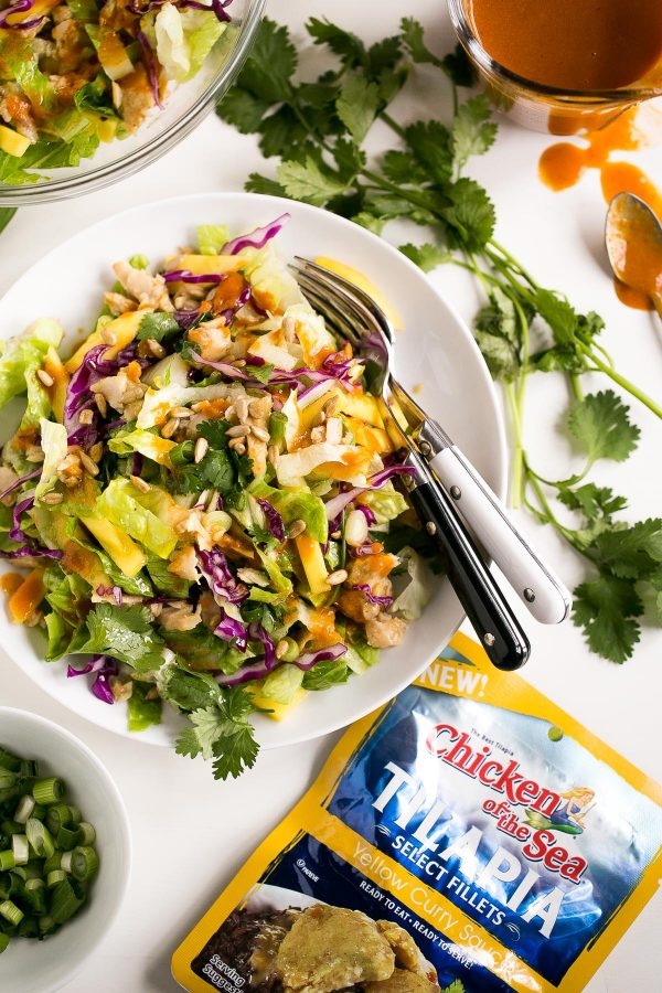 Tilapia Salad with Thai Red Curry Dressing - A heart healthy recipe made with light coconut milk, peanut butter, and red curry paste.