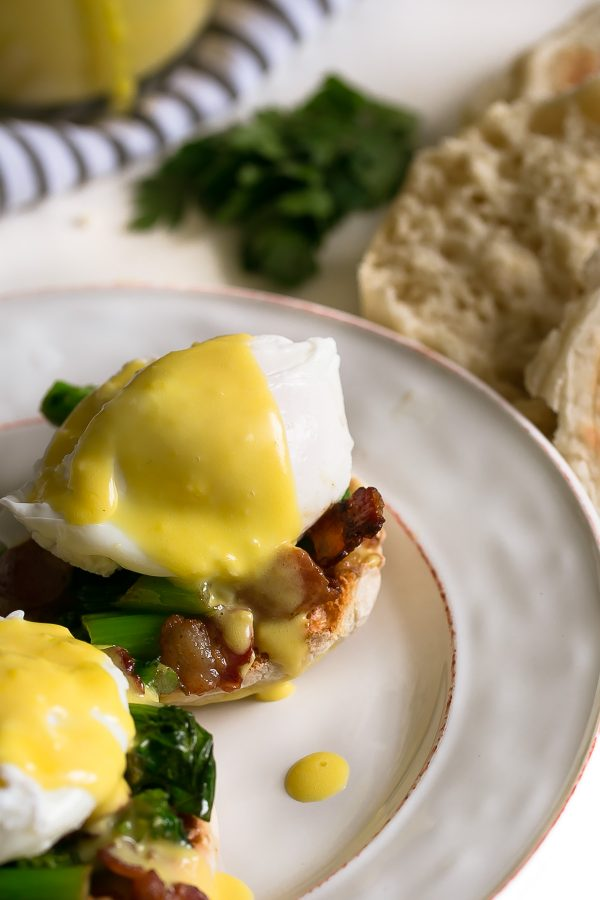 Eggs Benedict with Easy Blender Hollandaise Sauce and Broccoli Rabe Recipe