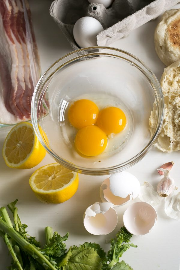 Eggs Benedict with Easy Hollandaise Sauce and Broccoli Rabe Recipe