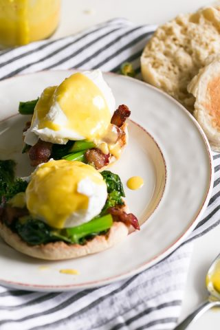 Eggs Benedict with Easy Hollandaise Sauce and Broccoli Rabe