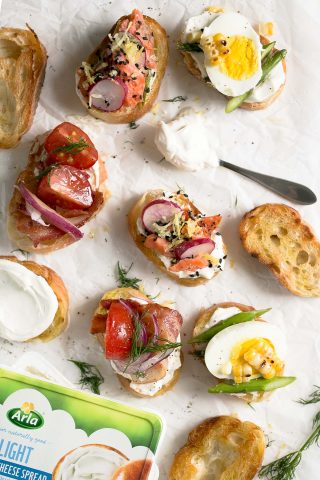 3 Summer Crostini Recipes with Grilled Corn, Asparagus and Tomatoes