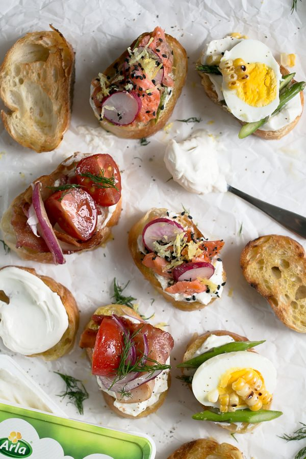 3 Summer Crostini Recipes - How to make easy, fresh, and fast appetizers using seasonal vegetables in three flavors - Balsamic Tomato Crostini with Bacon and Dill (like a BLT!), Grilled Corn and Asparagus Crostini with Lemon Zest, and Sesame Salmon Avocado Crostini