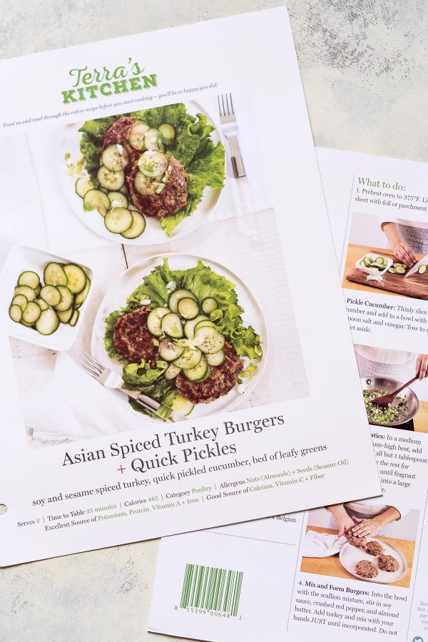 Asian Turkey Burgers Recipe with Quick Pickles - an easy super flavorful turkey burger made with scallions, soy sauce, garlic, and peanut butter or almond. Top them with cucumbers tossed salt and vinegar to make pickles in minutes! Recipe and review of Terra's Kitchen meal delivery service