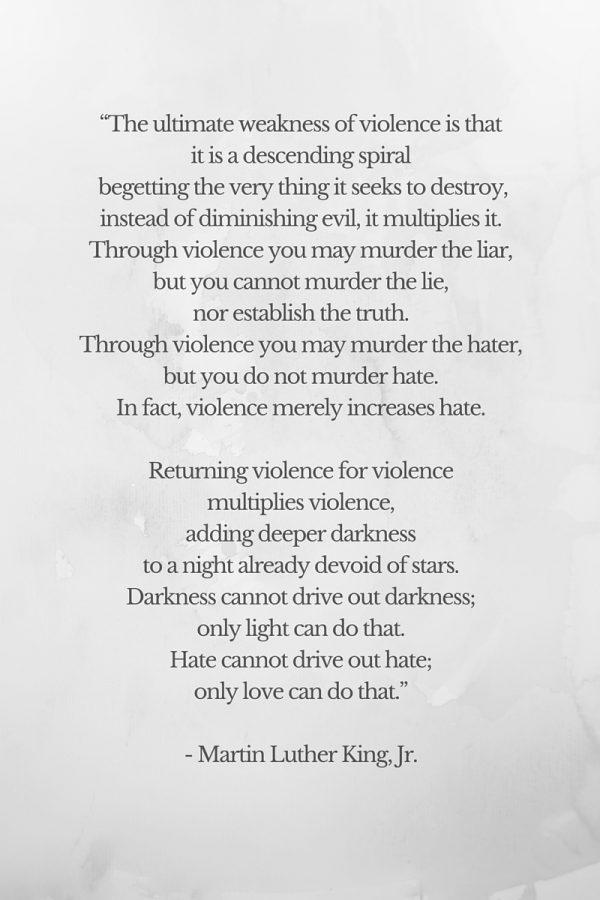 "Martin Luther King Jr. Quote - Violence begets violence. ""Darkness cannot drive out darkness; only light can do that. Hate cannot drive out hate; only love can do that."""