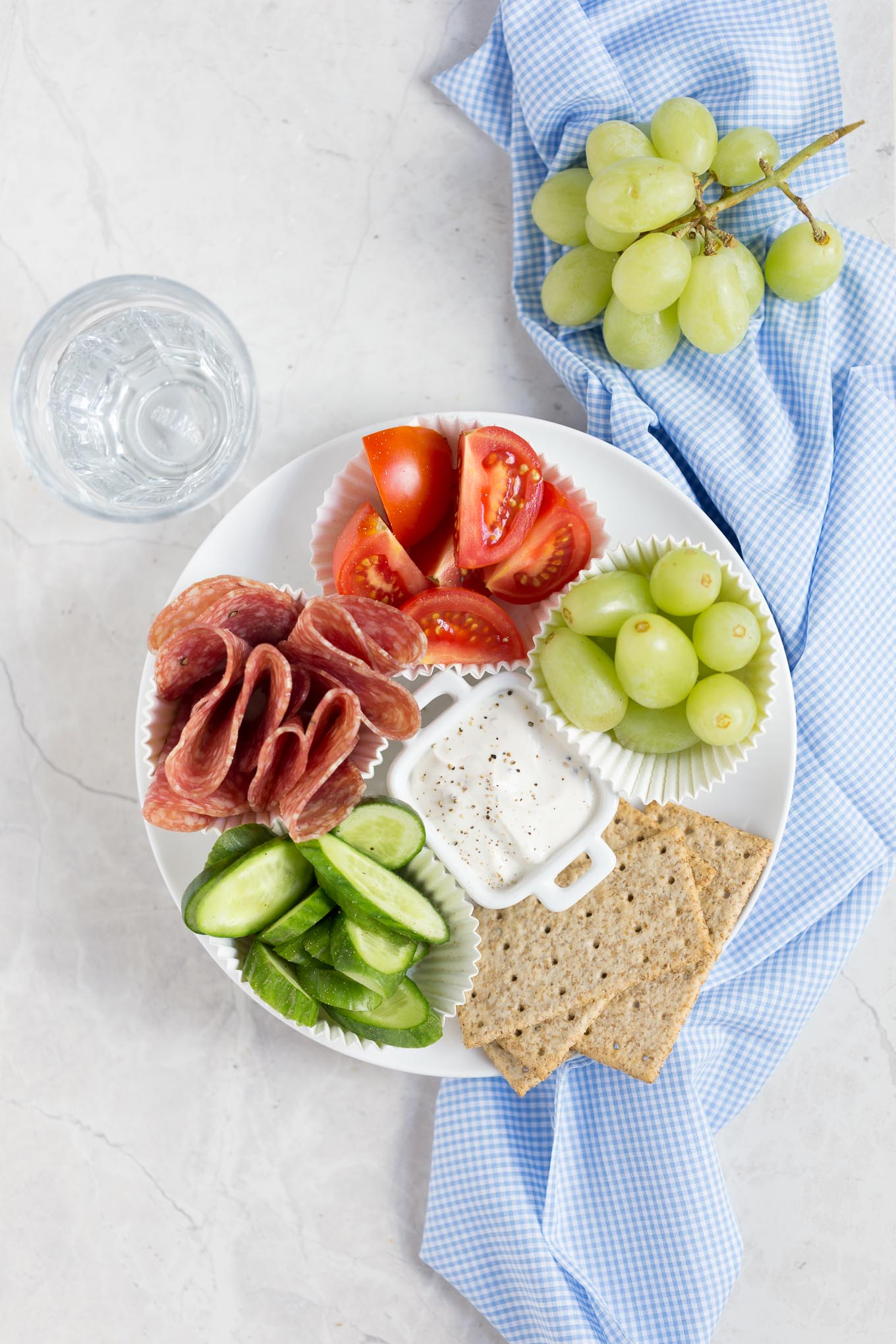 Adult Lunchable With Veggies Salami And Cream Cheese