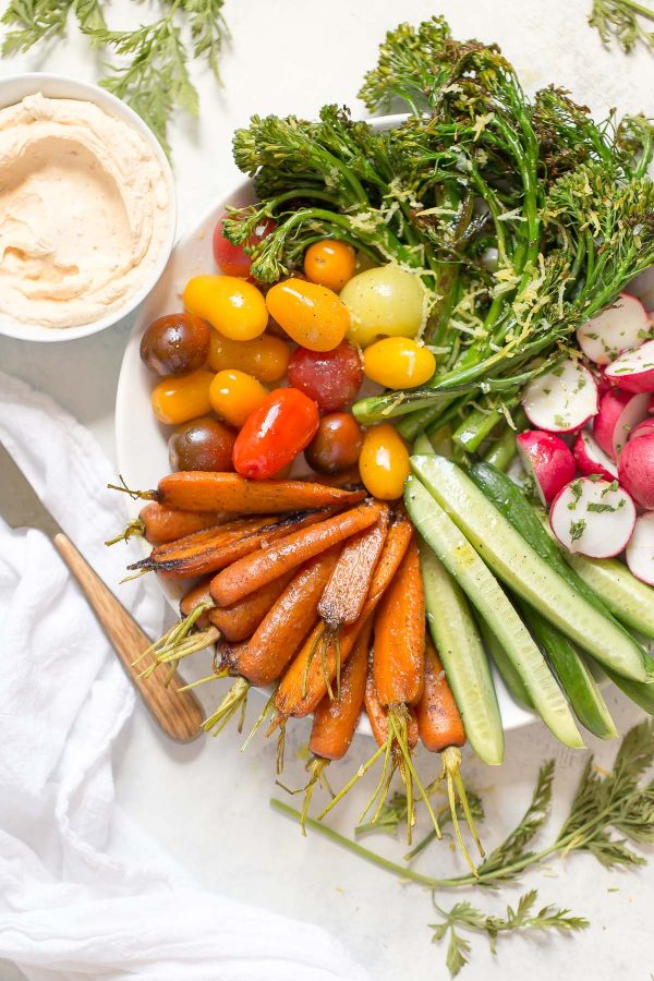 Better Vegetable Platter with Tandoori Spice Carrots and Lemon Broccolini