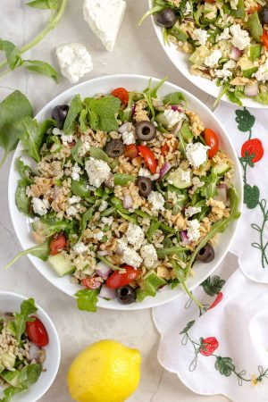Greek Whole Grain Salad with Lemon Salmon and Feta - Greek Whole Grain Salad with Lemon Salmon and Feta - A delicious whole grain salad with Greek flavors like feta, olives, lemon pepper salmon, and brown and wild rice! It's quick, easy, and filling!