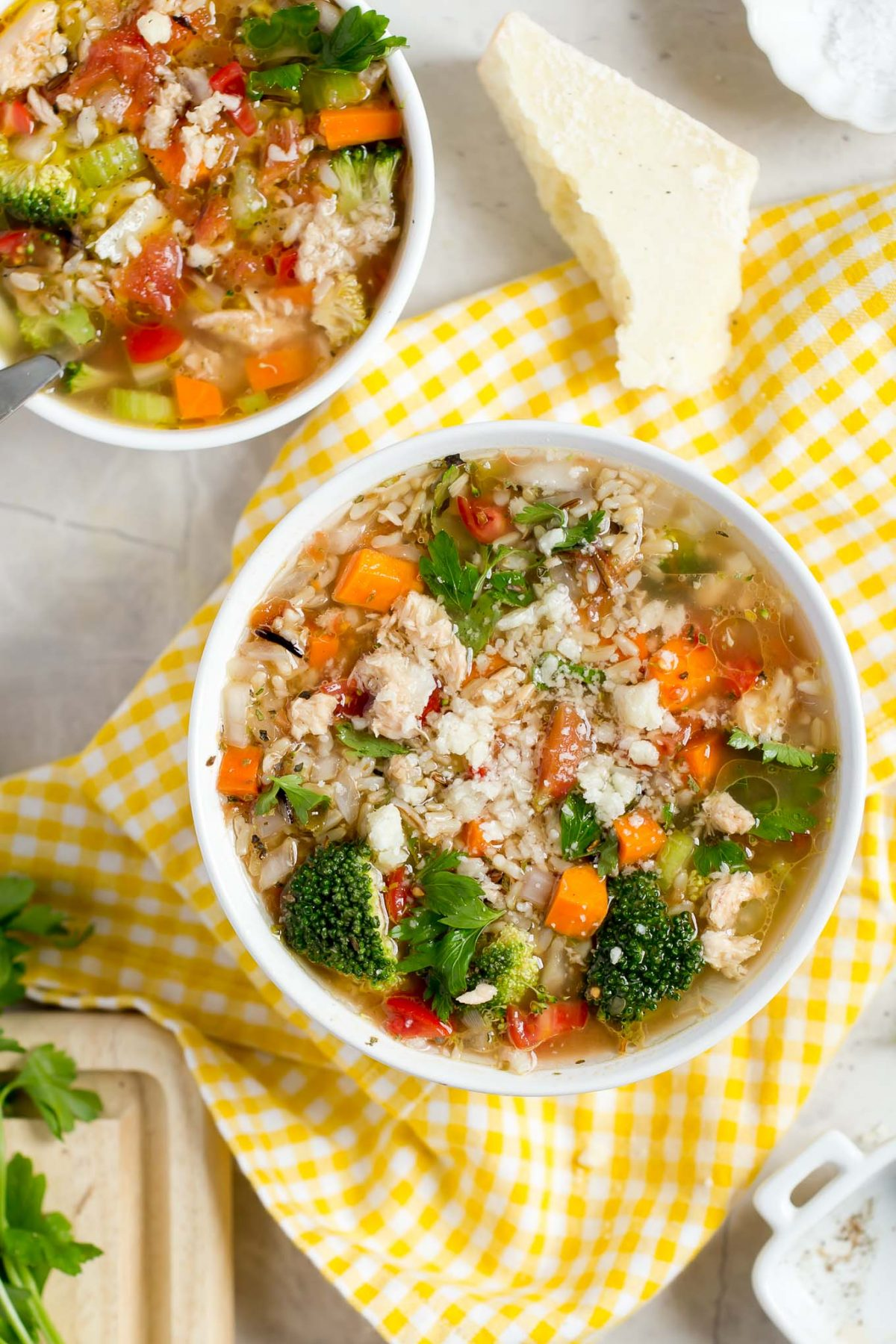Hearty Salmon and Wild Rice Soup in a Hurry - A comforting, wholesome, and hearty soup with broccoli, onion, celery, carrot, salmon, and brown and wild rice in 30 minutes!