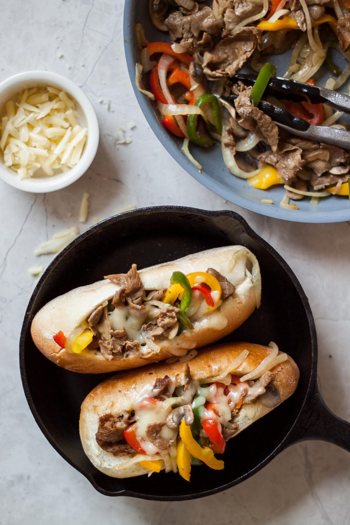 Lighter Philly Cheese Steak Sandwiches Recipe - All the flavor Philly's best cheesesteaks with half the calories!