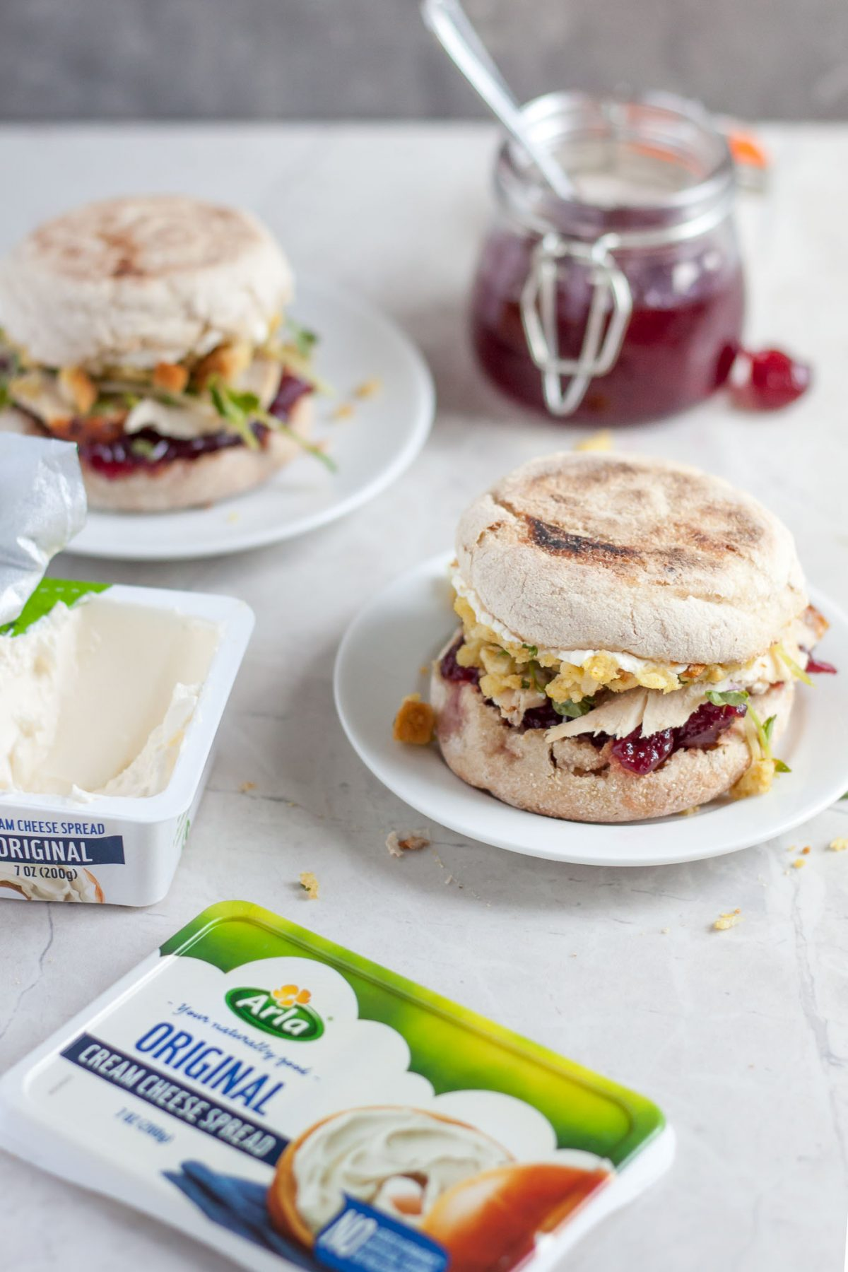 Lighter Thanksgiving Leftover Sandwich with Turkey, Stuffing, and Cranberry Sauce Recipe