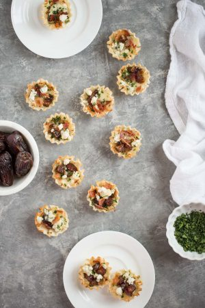 Sweet and Savory Medjool Date, Bacon, and Brie Tarts