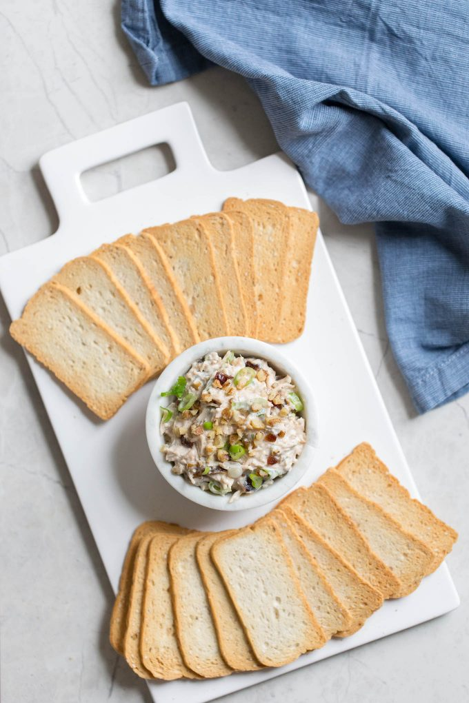 Creamy Chicken Salad Dip with Walnuts and Medjool Dates