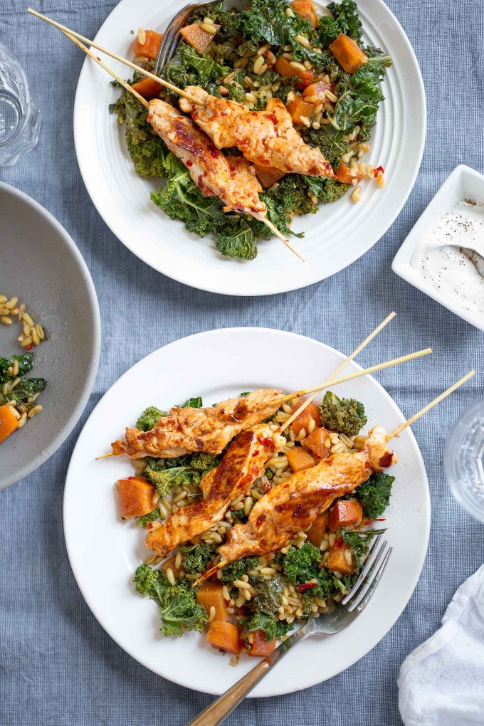 Harissa Chicken Skewers with Khorasan Wheat and Persimmon Salad Recipe