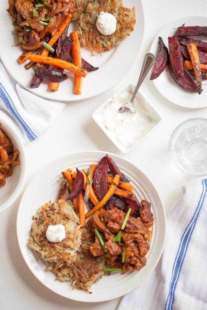 Sautéed Beef & Potato Latkes with Roasted Beet and Carrots Recipe