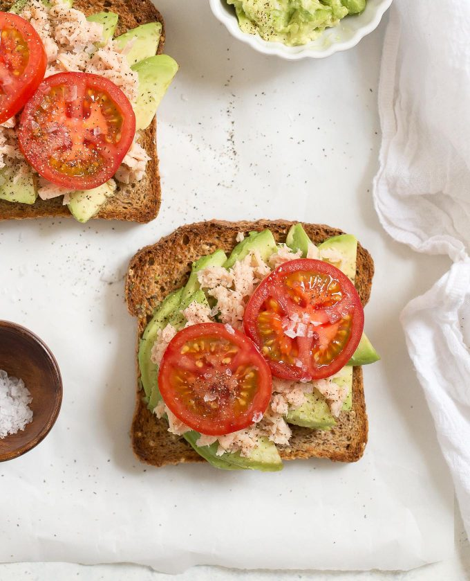 Tuna Avocado Toast with Tomato - a healthy. quick, and easy lunch that's packed with protein and good fats!