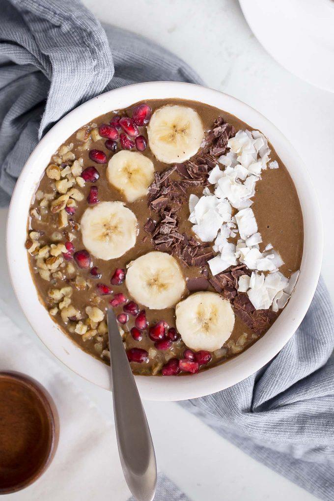 High Protein Chocolate Espresso Smoothie Bowl