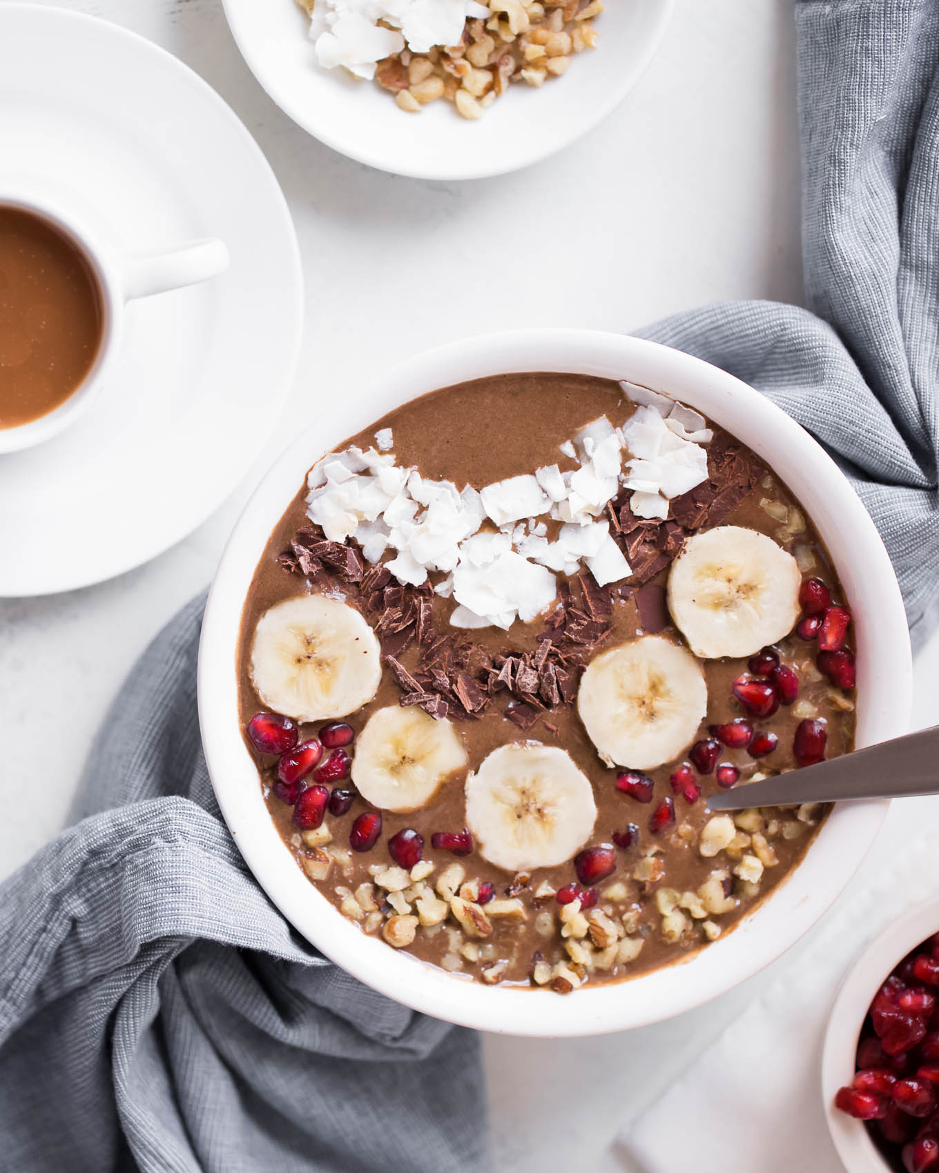High Protein Chocolate Espresso Smoothie Bowl