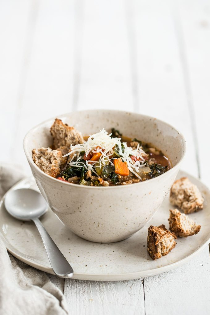 Quick Chicken Sausage Stew with Kale and White Beans