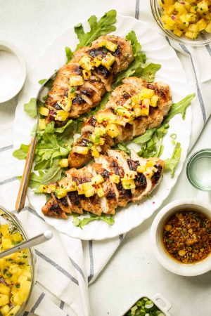 Sesame Ginger Grilled Chicken with Pineapple Salsa